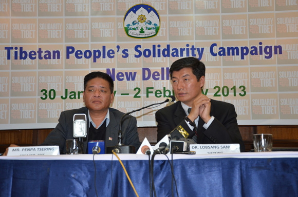 Speaker and Sikyong at Press Conference for the Tibetan People's Solidarity Campaign