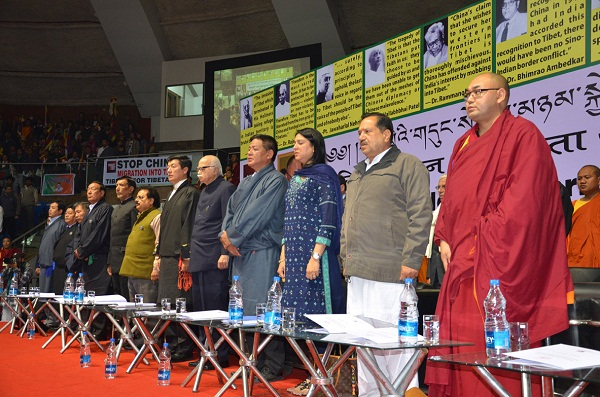 Dignitaries at the launch of the campaign at Talkatora indoor stadium, New Delhi on 30 January 2013.