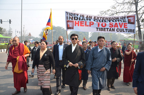 Sikyong, Speaker, Minister of Home and Deputy Speaker of TPIE lead the rally
